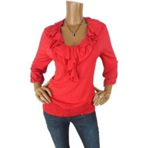 INC NWT L P $49 Red HOLIDAY Blouse Stretch Ruffles